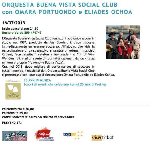 Buena Vista Social Club villa arconati