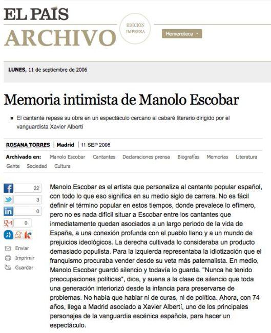 El Pais Manolo Escobar