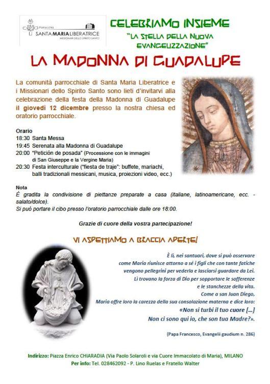 Locandina Madonna di Guadalupe