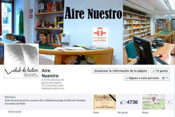 Pagina Facebook de AIRE NUESTRO