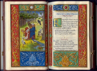 Ziggiotti, 1, 22x14 aperto 22x28, Fedro che scrive le sue favole tra gli animali