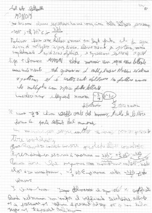 escritura de un chico de 16 años
