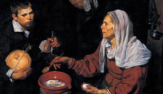 Vieja friendo huevos. Diego Velázquez. 1618.