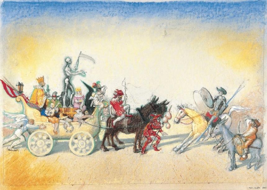 La Carreta de la Muerte, 2001. Mixta : cartón. 48 x 68 cm