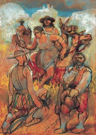 Las tres aldeanas, 2001. Mixta : cartón. 45,5 x 32,5 cm