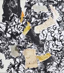 27 Messaggi dalla notte, 2007 - 2008, Collage di frammenti su tela, 70x60 cm