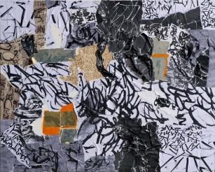 28 Messaggi dalla notte, 2010, Collage di frammenti su legno, 80x100 cm