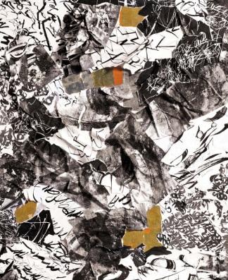 29 Messaggi dalla notte, 2010, Collage di frammenti su legno, 100x80 cm