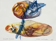 3 Piedras hablandose, 2016, acquerello su carta, 28x38 cm