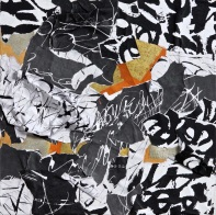 30 Messaggi dalla notte, 2014, Collage di frammenti su tela, 40x40 cm