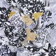 31 Messaggi dalla notte, 2007 2008, Collage di frammenti su tela, 40x40 cm