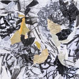 32 Messaggi dalla notte, 2007 2008, Collage di frammenti su tela, 40x40 cm