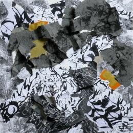 33 Messaggi dalla notte, 2007 2008, Collage di frammenti su tela, 60x60 cm