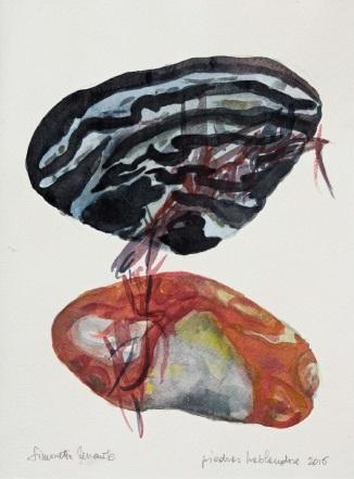 4 Piedras hablandose, 2016, acquerello su carta, 38x28 cm