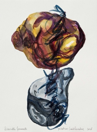 9 Piedras hablandose, 2016, acquerello su carta, 38x28 cm