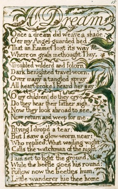 Songs of Innocence and of Experience, copy L, 1795 (Yale Center for British Art) 15-26 A Dream