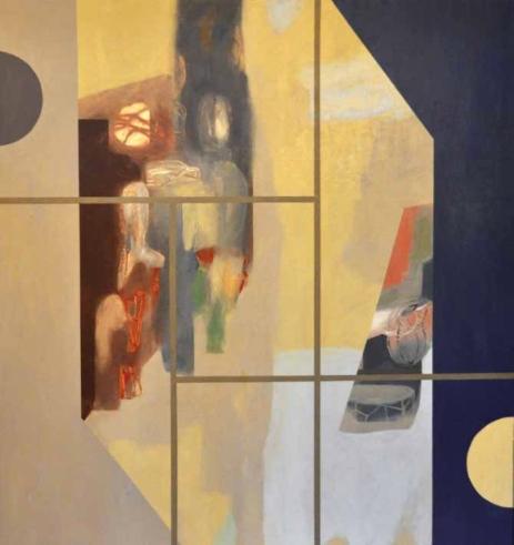 """(28) Night (Revealed), 2017, olio su tela, cm 180X170. Collezione di Marica Flandoli Lavia """"L'universo dorme poggiando sulla zampa, l'orecchio enorme con zecche di stelle."""" Vladimir Majakoskij"""