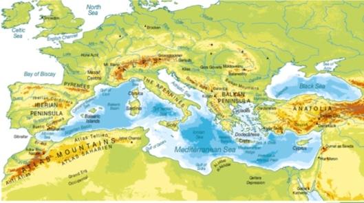Mapa Alas sobre el Mediterráneo